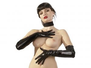 Schwarze, lange Latex-Handschuhe Gr. S, M, L und XL