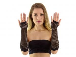 Lange fingerlose Netzhandschuhe schwarz