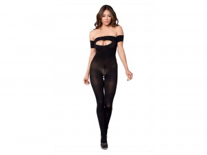 Be Wicked Ripped Strapless Catsuit BWB118 schwarz