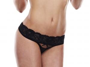 Baci Lingerie Crotchless Slip schwarz Gr. S/M, M/L und L/XL