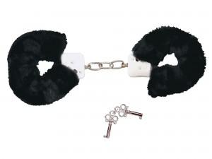 Handschellen mit samtig-weich Plüschüberzug schwarz