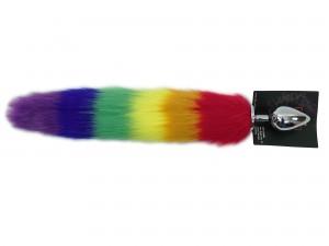 Pride Aluminium Analplug mit Rainbow Schweif large 40 mm