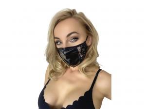 Gesichtsmaske im Powerwetlook und Spitzeneinsätzen schwarz