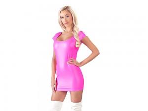 Kleid mit großem Ausschnitt und kurzem Arm pink Gr. S, M, L und XL