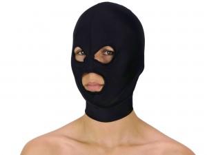 Dehnbare Kopfmaske mit 3 Öffnungen schwarz