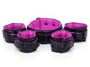 Bondage Manschetten Set gepolstert schwarz pink