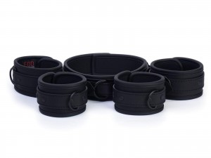 Neopren Bondage Manschetten Set Midnight Black