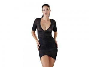 Halbarm-Minikleid mit Raffung schwarz Gr. S, M, L und XL