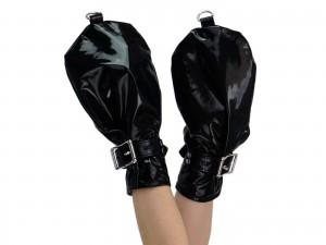 Schwarze Lack Fäustlinge Fist Mitts abschließbar