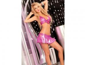 Bikini - Top mit Minirock im Set pink S/M