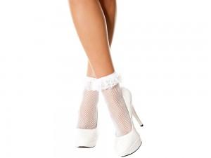 Music Legs Netzsocken mit Spitzenrüschen weiß