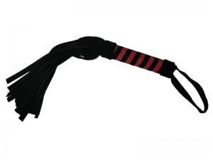 18-schwänzige Velour Peitsche Rot Schwarz
