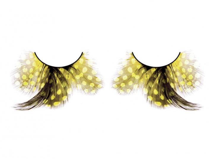 Wimpern aus gelb / schwarzen Federn