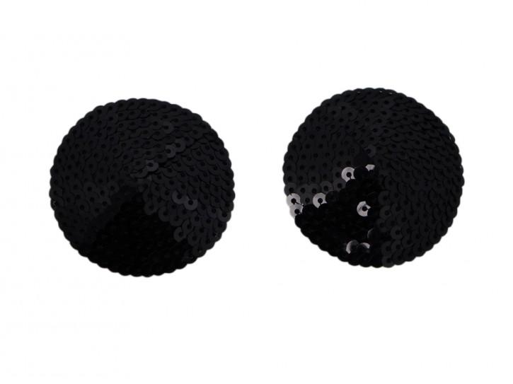 Nippelschmuck aus schwarzen Pailletten