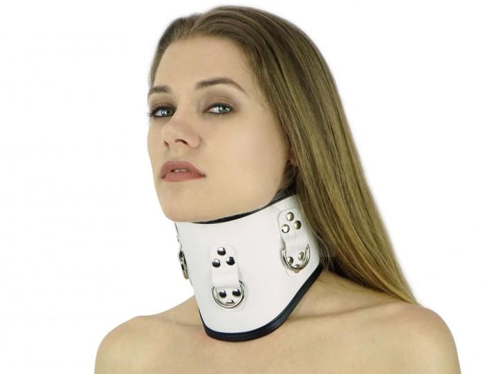 Halsband extra breit weiß Halskrause
