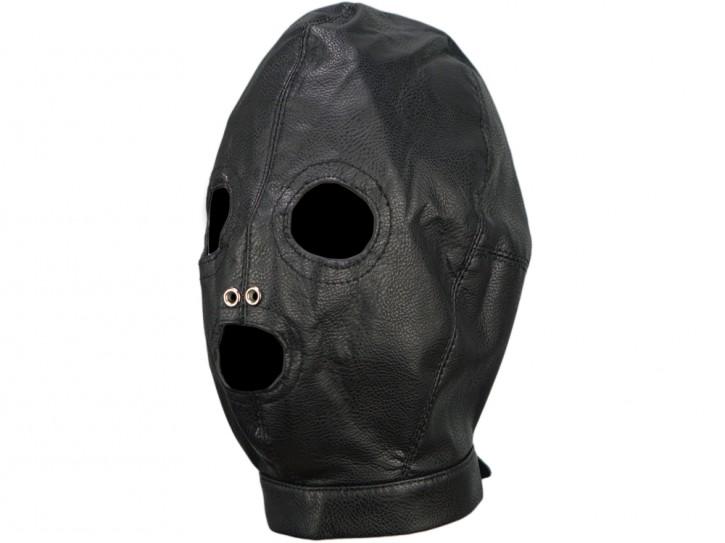 3-loch Leder Maske schwarz