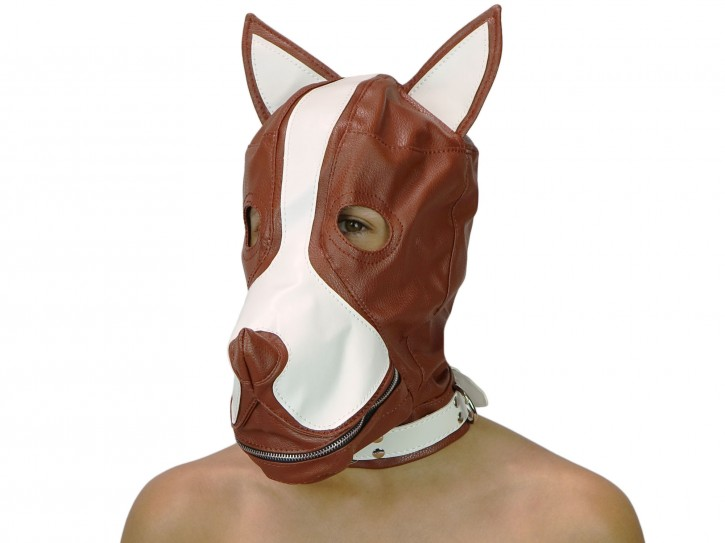 Petplay Hundemaske mit Knebel braun weiß