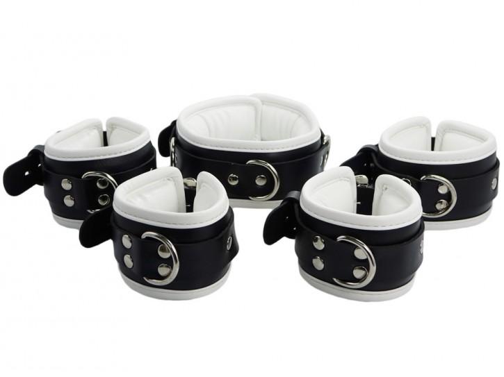 Bondage Manschetten Set abschließbar schwarz weiß