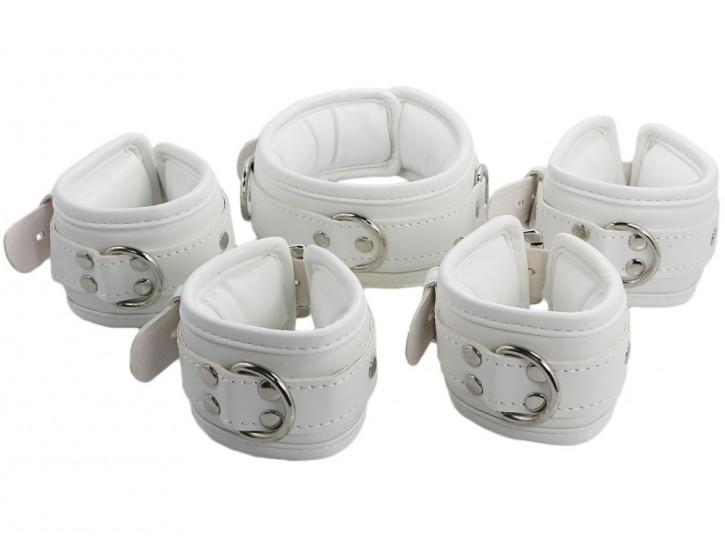 Bondage Manschetten Set gepolstert und abschließbar weiß
