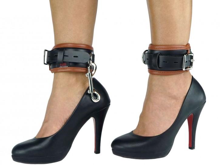 Fußfesseln gepolstert und abschließbar schwarz-braun