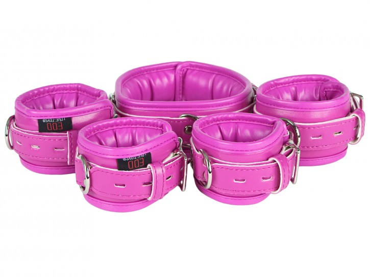 Bondage Manschetten Set gepolstert und abschließbar pink