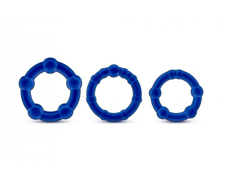 Stay hard beaded Ringe blau 3tlg.