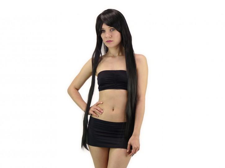 Extralange Perücke in schwarz 100cm glatt