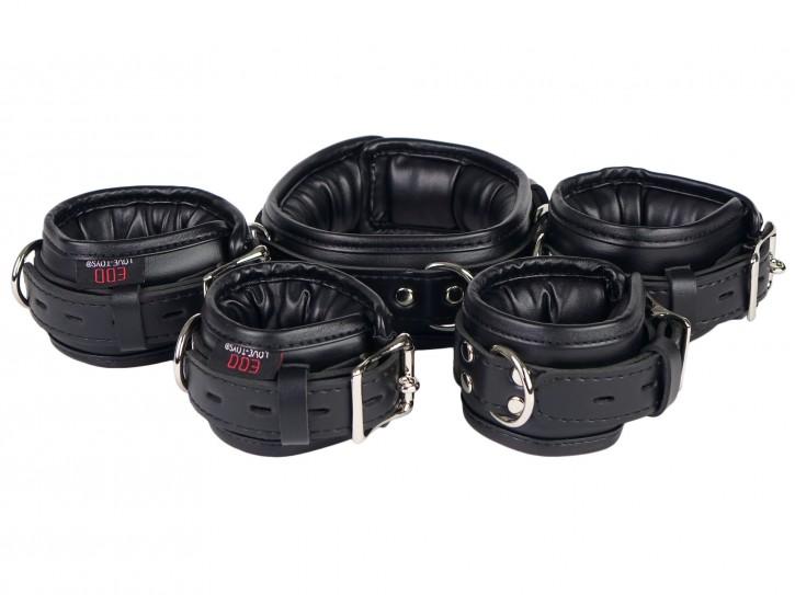 Bondage Manschetten Set gepolstert und abschließbar schwarz