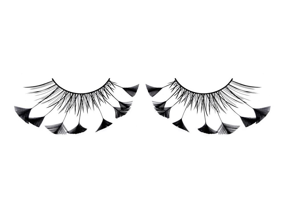Wimpern mit kleinen dreieckigen Federn