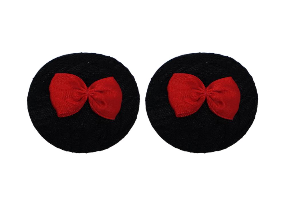 Schwarzer Nippelschmuck mit roter Satinschleife