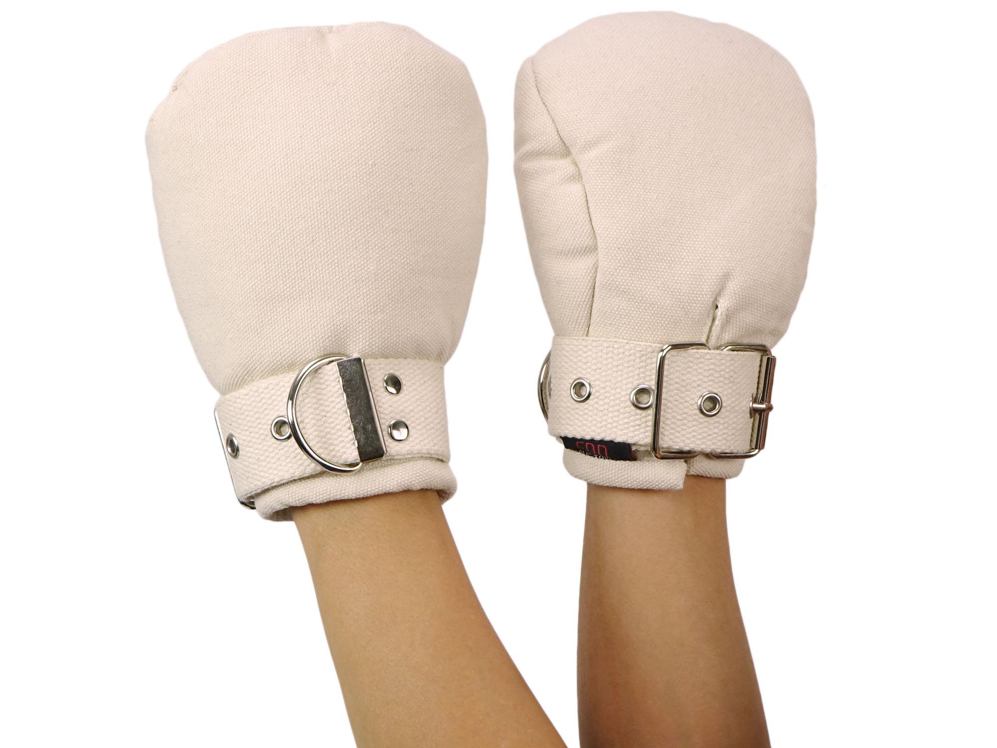 Bondage Fäustlinge Fist Mitts - Fessel Handschuhe beige