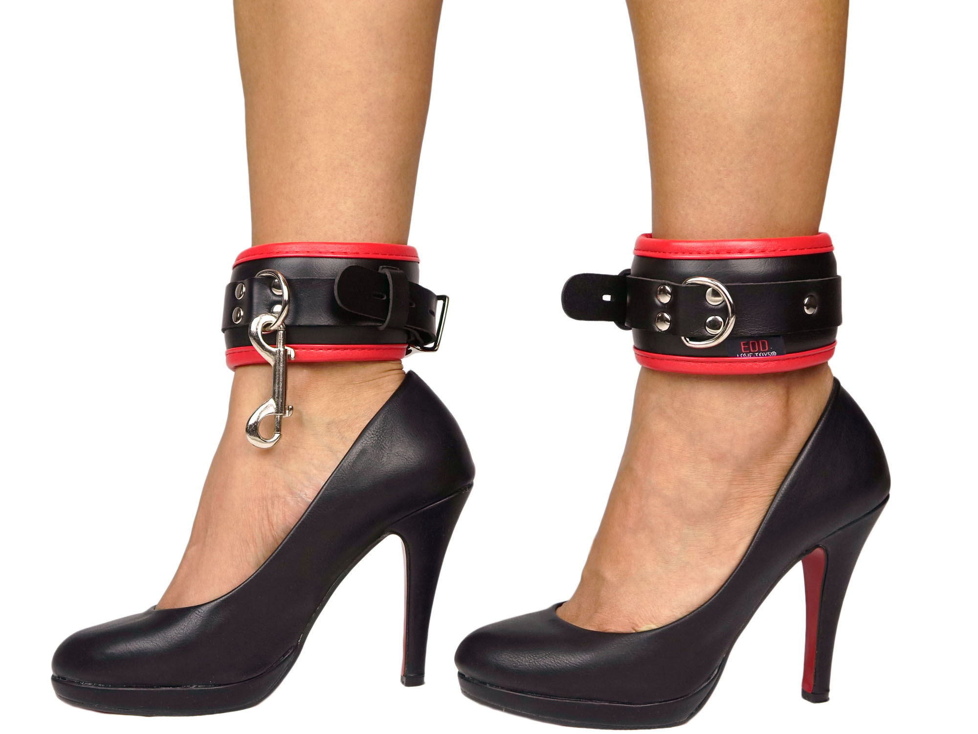 Fußfesseln gepolstert und abschließbar schwarz-rot