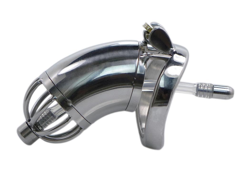EDD Cuckolding KG lang Edelstahl Peniskäfig mit Dilator und Stachel-Sicherung 45mm