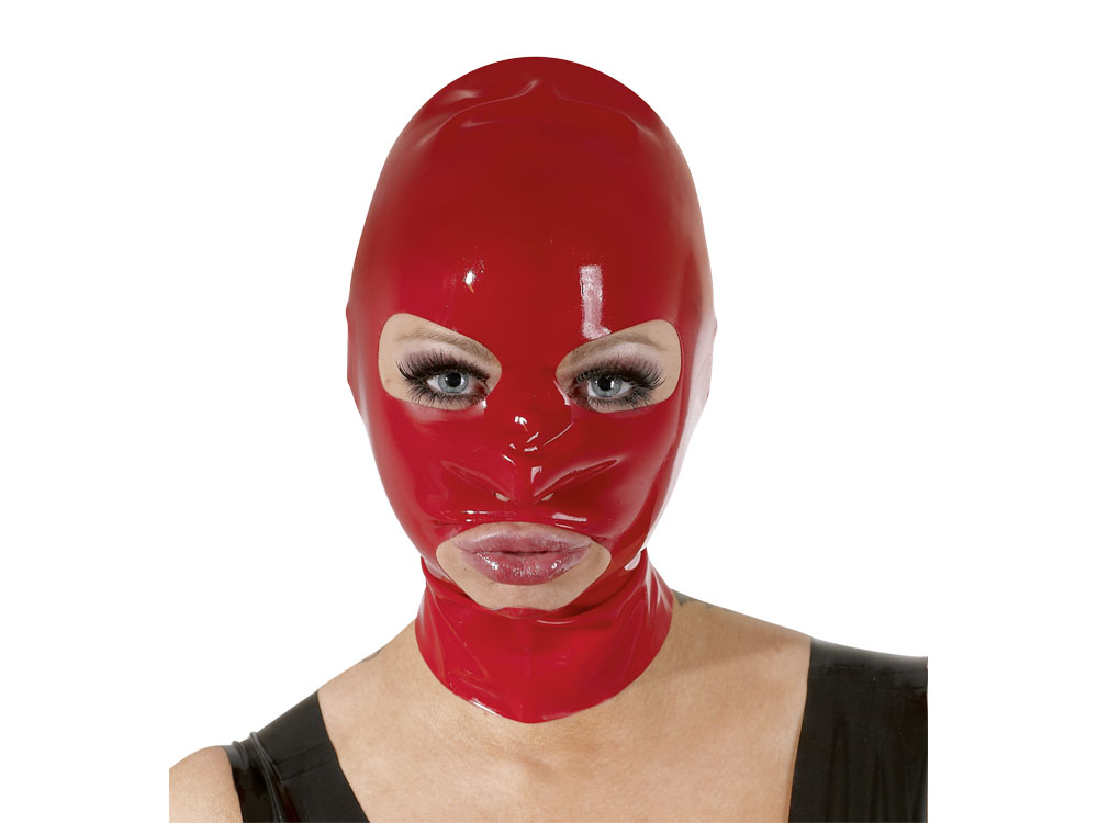 Latex-Kopfmaske rot