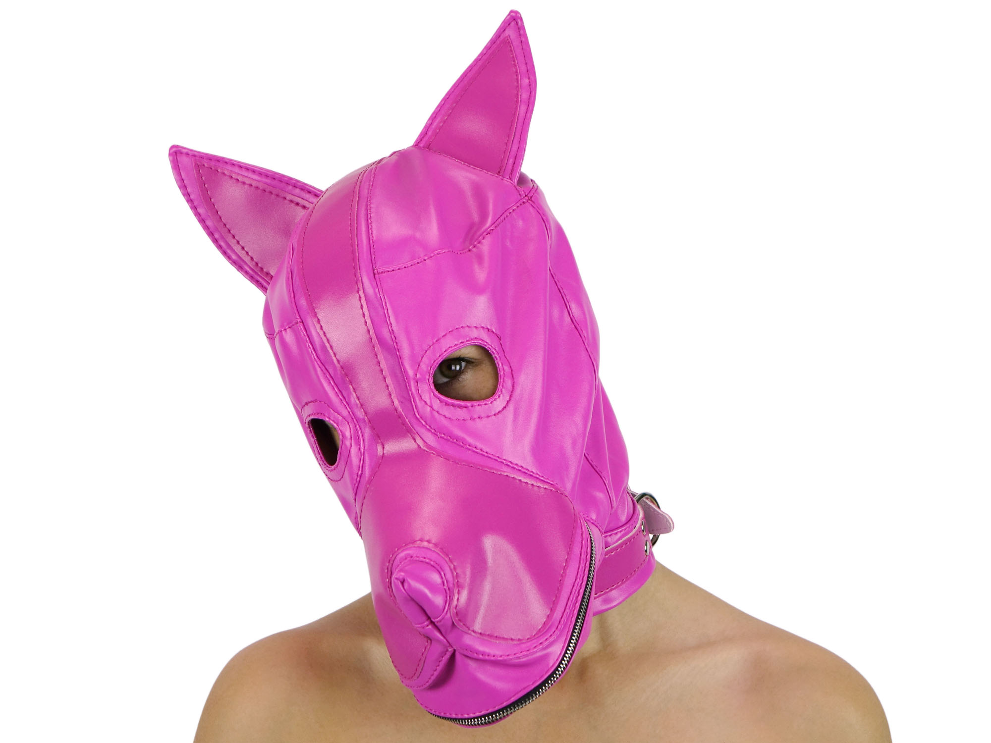 Petplay Hunde-Maske mit Knebel pink