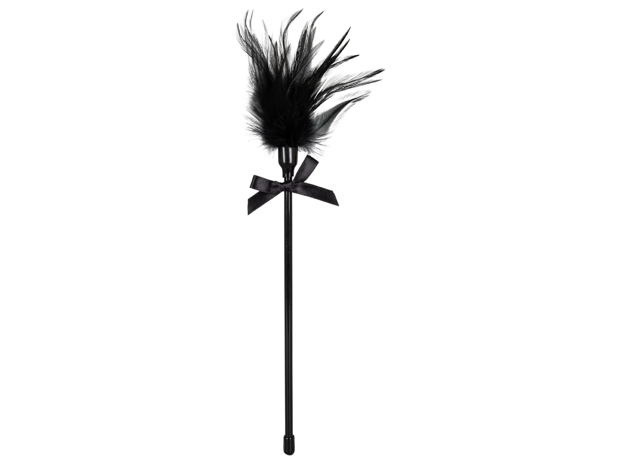 Feder Tickler an Kunststoffstab schwarz 22 cm
