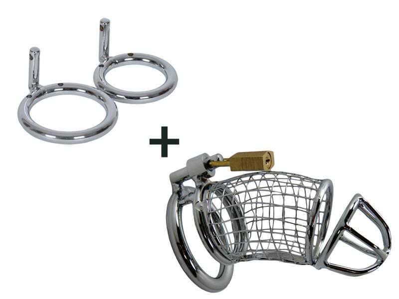 Grid Cage + (Plus) inkl. 3 Hodenringe Metall Peniskäfig