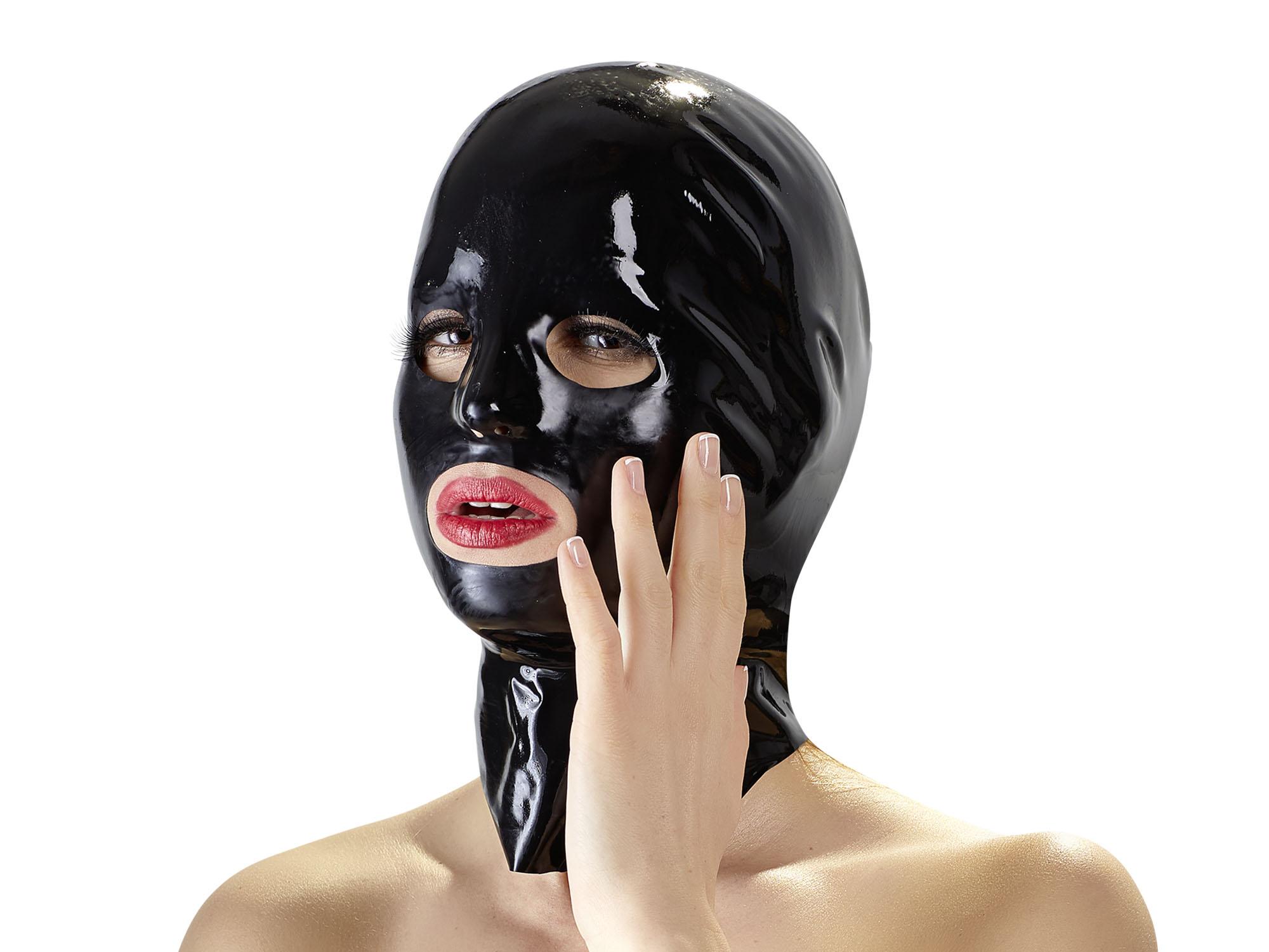 Anatomische Latex-Kopfmaske für Frauen schwarz Gr. S/M