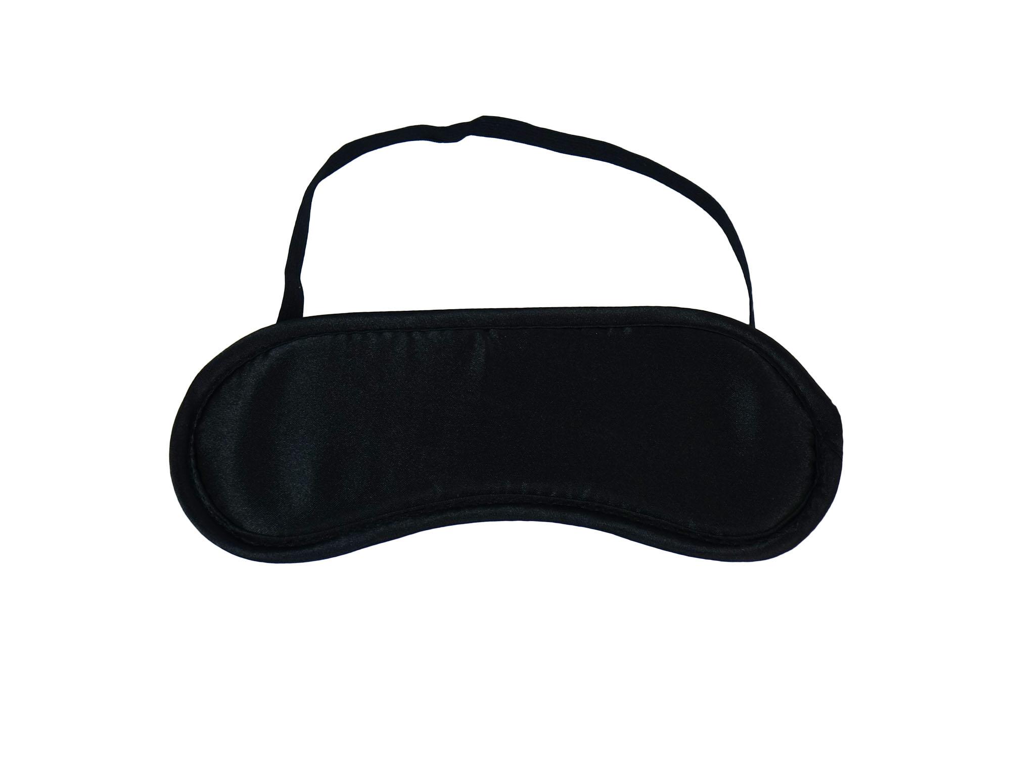 Klassische Satin-Augenmaske - Schlafmaske gepolstert schwarz