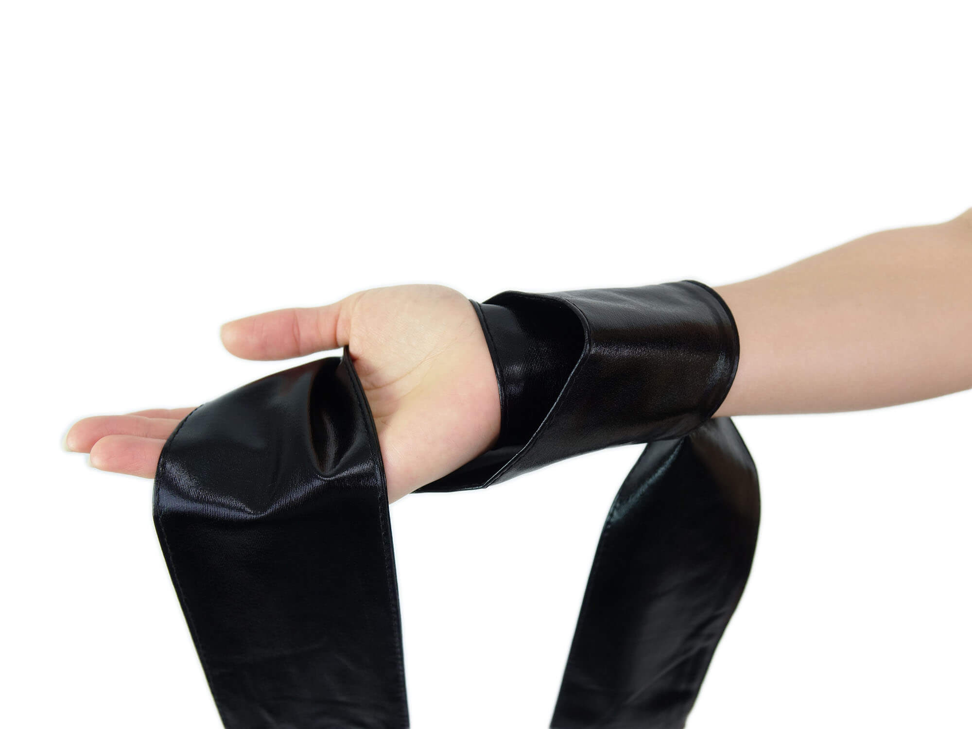 Premium Bondage-Schal wetlook schwarz glanz