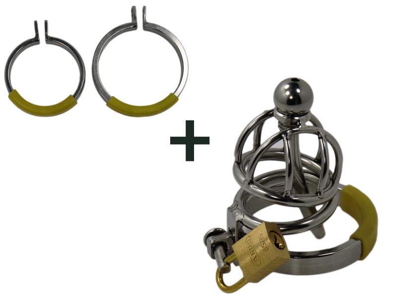 Ring Cage XXS Steel V1 inkl. aller 3 Cockringe, mini Peniskäfig
