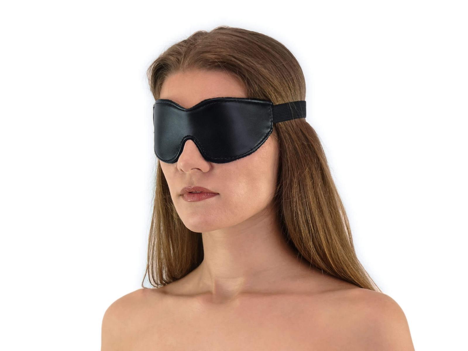 Weiche komfort Augenbinde mit Gummizug Leder-Look