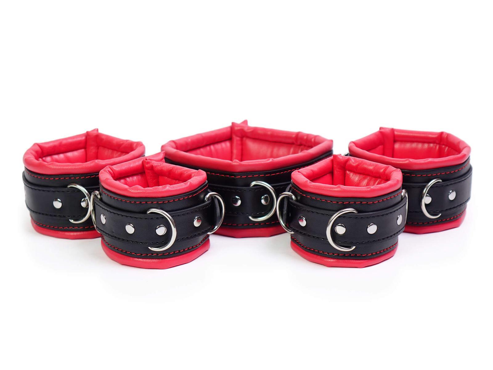 Bondage Manschetten Set gepolstert rot-schwarz