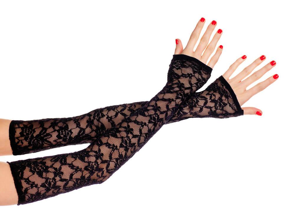 Music Legs extra lange fingerlose Spitzenhandschuhe