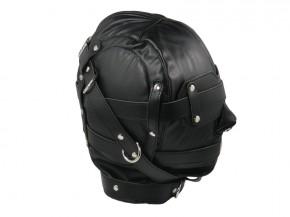 Isolationsmaske Sklaven Maske schwarz Lederimitat