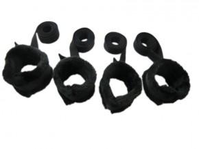 Bondage Bettfessel - Set plüsch Handfesseln + Fußfesseln schwarz